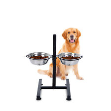 Elevated Dog Bowls Raised Pet Dishes Height Adjustable Stainless Steel Silver
