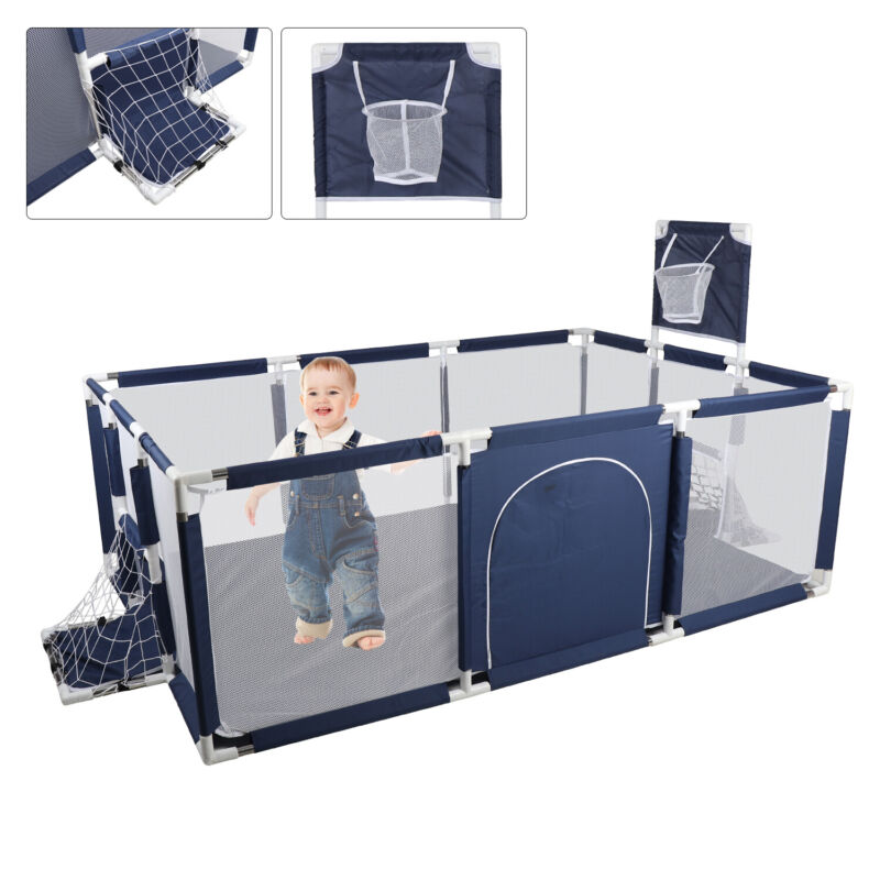 1.8M Baby Playpen Kids Safety Fence Activity Play Center Play Yard Play Pen Blue