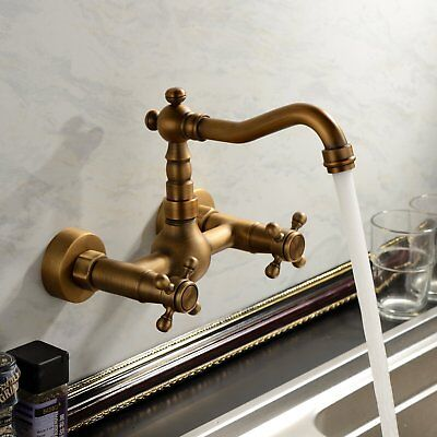 Vintage Antique Brass Wall Mount Bathroom Tub Sink Swivel Faucet Mixer - Antique Brass Bath Faucets