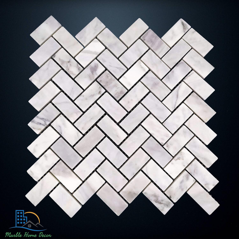 Carrara Marble Herringbone Mosaic Tile Wall Floor Kitchen Bathroom Splashback Ebay