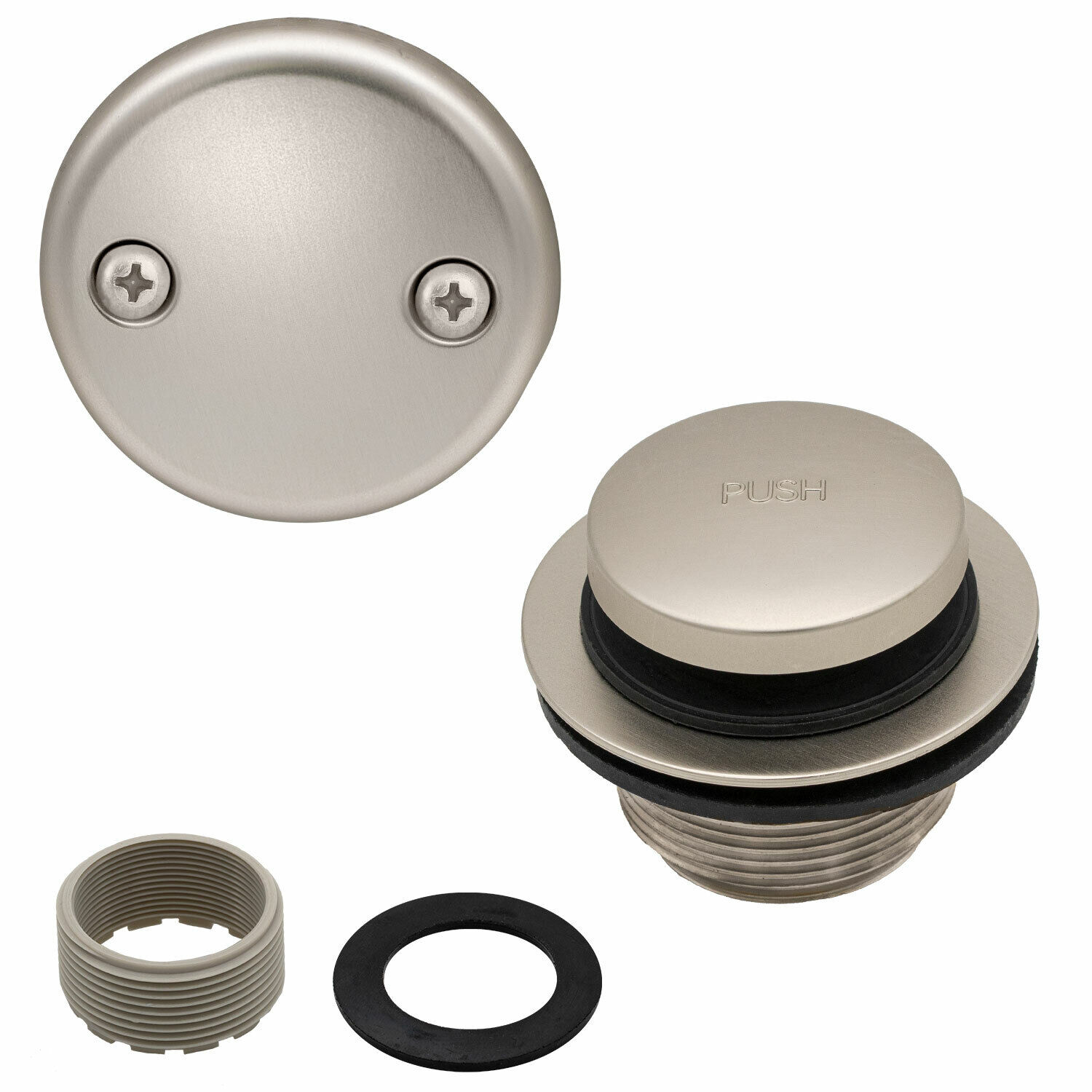 Toe Touch Tub Drain Replacement Bathtub Overflow Cover Kit, Satin Nickel Bath