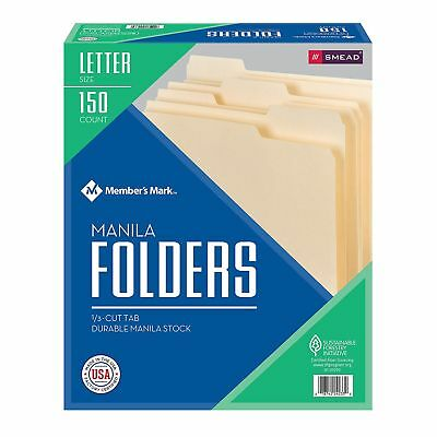 Smead 150 Manila File Folders 13 Cut Top Tab Letter Size Office Organize Filing