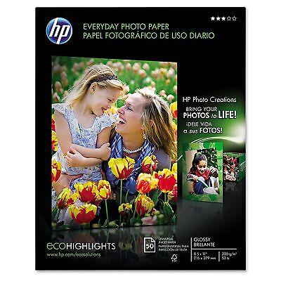 "HP Everyday Glossy Photo Paper 50 Ct 8 1/2""x 11"" HEWQ8723AND - Brand New Item"