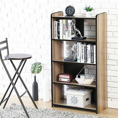 -  5 Shelf Brown Bookcase Wooden Book Case Storage Shelves Wood Bookshelf Library