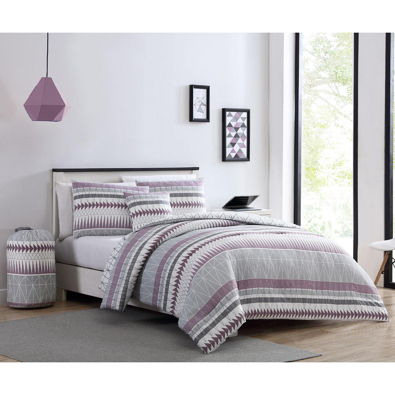 Twin XL or Full Geometric Dorm Comforter and Sham Bedding Set, Purple Grey White Bedding