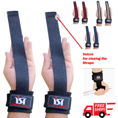 Weight Lifting Gym Straps Wraps Power Training Wrist Gloves Workout Hand bar New