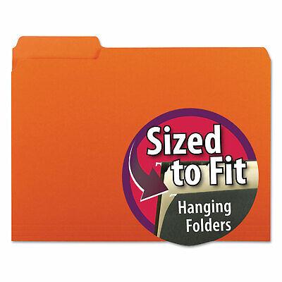 Smead Interior File Folders 13 Cut Top Tab Letter Orange 100box 10259