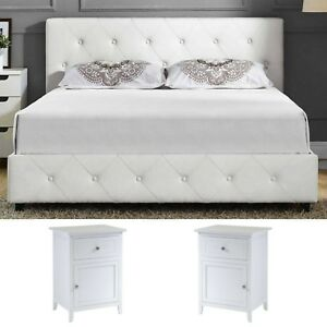 Queen Size Bedroom Set 2 Nightstands Modern Luxury Design Furniture White  Bed