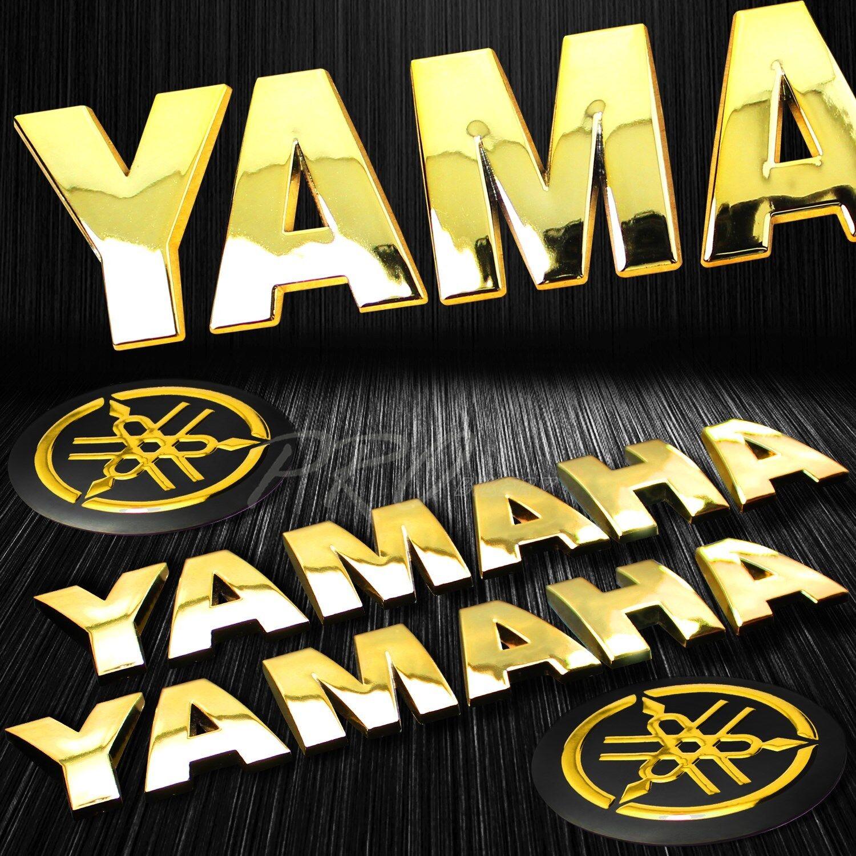 "6.75/"" 3D 5mm Thick Emblem+2/"" Logo Fender Badge Sticker for Yamaha Chromed Gold"