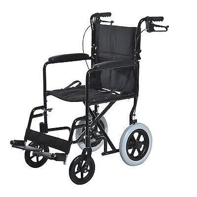 Folding Medical Transport Chair Wheelchair Light Weight Aluminum w/ Hand Brakes