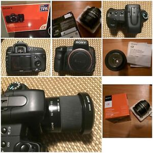 Etc Sony alpha 200 dslr camera + two lens + extras with boxes