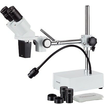 Amscope 5x-10x Binocular Boom Arm Stereo Microscope Led Gooseneck