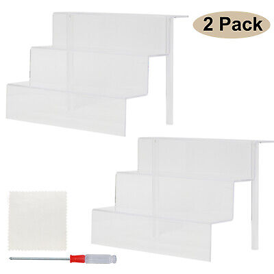 2 Pack Collectible Display Stand For Models Clear Acrylic Riser Showcase 13.4