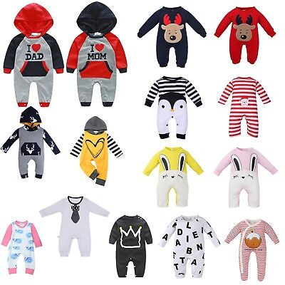Newborn Baby Boys Girls Long Jumpsuit Romper Bodysuit Cotton Clothes Outfit Lot