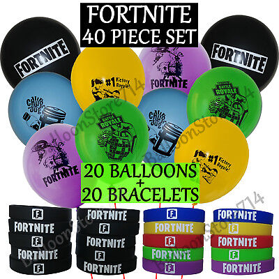 40 Piece FORTNITE Birthday Party Favors & Supplies - 20 Bracelets & 20 Balloons - Birthday Supplies