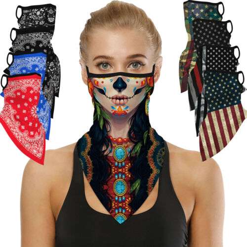 Women Half Face Mask Bandana Tube Head Scarf Neck Gaiter Bal