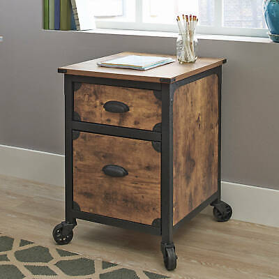 2 Drawer Rustic Country File Cabinet Weathered Pine Finish 23x20x26.5 Inc