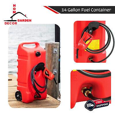 14 Gallon Portable Gas Fuel Tank Container W Hand Transfer Pump Wheel Storage