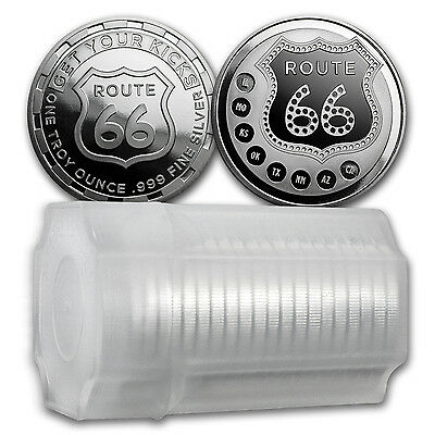 SPECIAL PRICE! 1 oz Silver Route 66 Round - (Lot, Roll, Tube of 20)