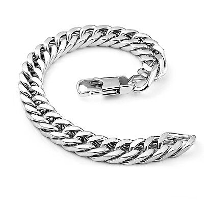 "MENDINO Men's Stainless Steel Bracelet Link Chain Bangle Biker Silver 8.5"" 8mm"