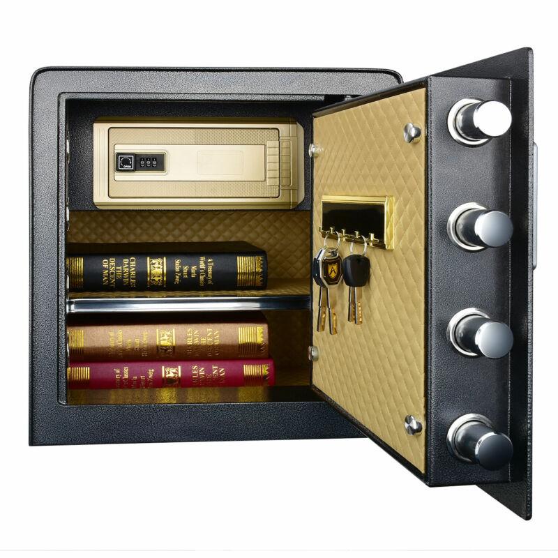 Double Protection Key Lock Electronic Keypad Box Security w/ Interior LED Light