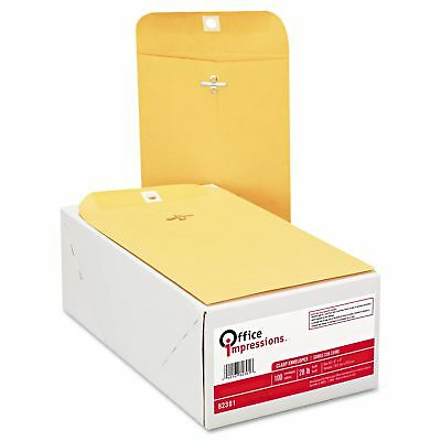 Office Impressions - Clasp Envelopes 6 X 9 Brown Kraft - 100 Count