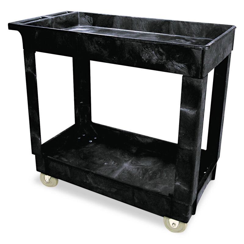 Rubbermaid Commercial Service/Utility Cart Two-Shelf 17w x 38d x 31h Black