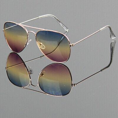 New Mens Womens Gradient Multi Color Lens Sunglasses Shades Retro Pilot Vintage Multi Lens Sunglasses