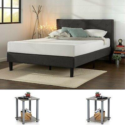 Bedroom Set Queen Size Modern Design Furniture 2 Nightstand Tables Grey 3 Pieces