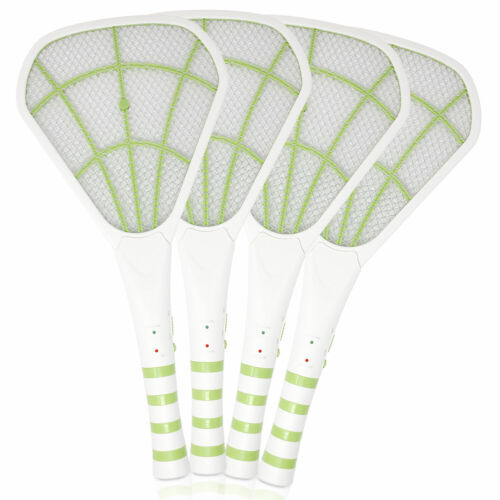 4PK USB Rechargeable Electric Bug Zapper 3600V, Mosquito Killer Racket, Green