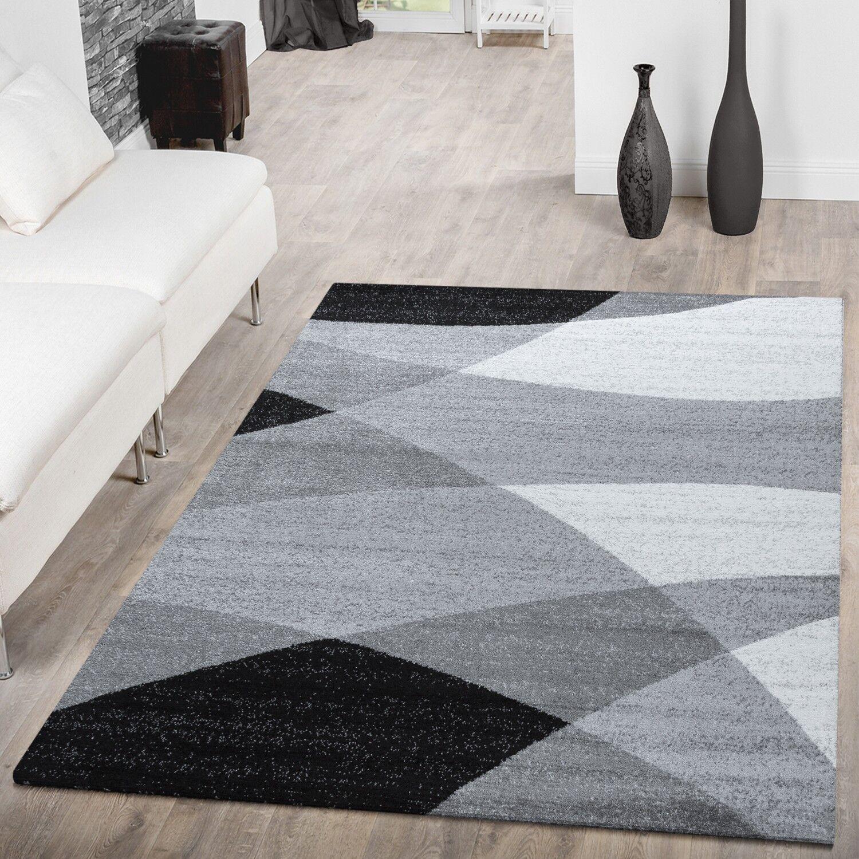 Designer Teppich Grau Meliert Kurzflor Modern Geschwungen Optik Hochwertig