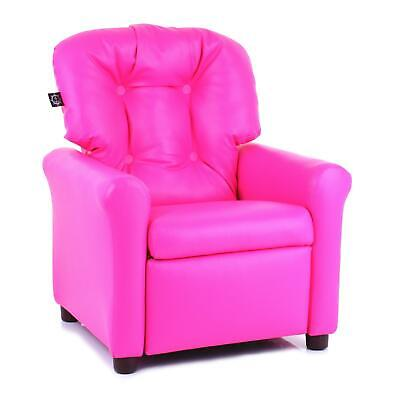 Traditional Kids Microfiber Recliner Chair Reading Book Seat Faux Leather Pink