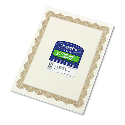 Geographics Parchment Paper Certificates 8-1/2 x 11 Optima Gold Border 25/Pack (Optima Gold Border)