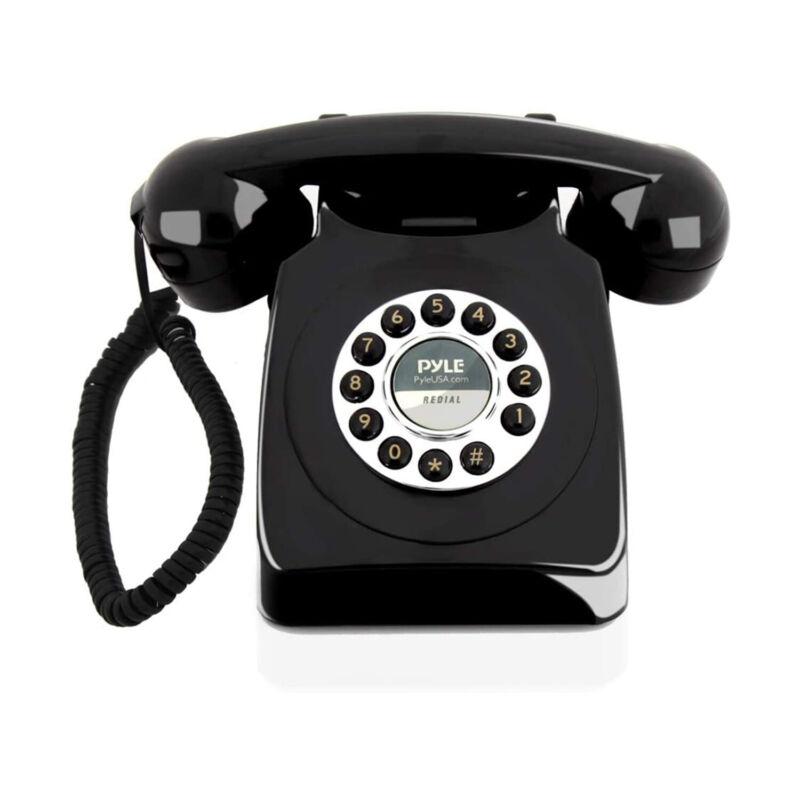 Pyle Vintage Classic Style Corded Phone Retro Design Landline Telephone, Black