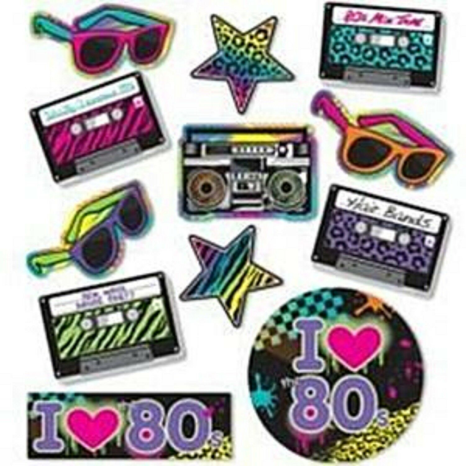 1980s 80/'s Eighties Party Paper Tableware Decorations Neon Patterned Plates