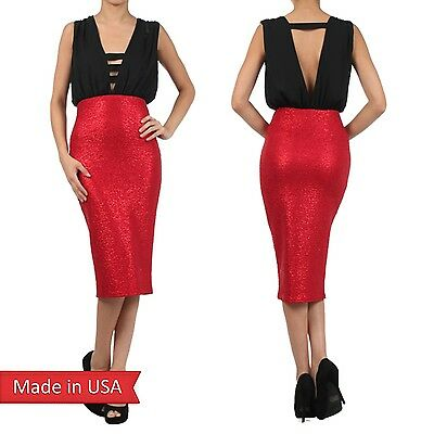 New Women Low V Neck w Band Detail Tank Top Red Pencil Fitted Glitter Dress - Banded V-neck Tank Dress