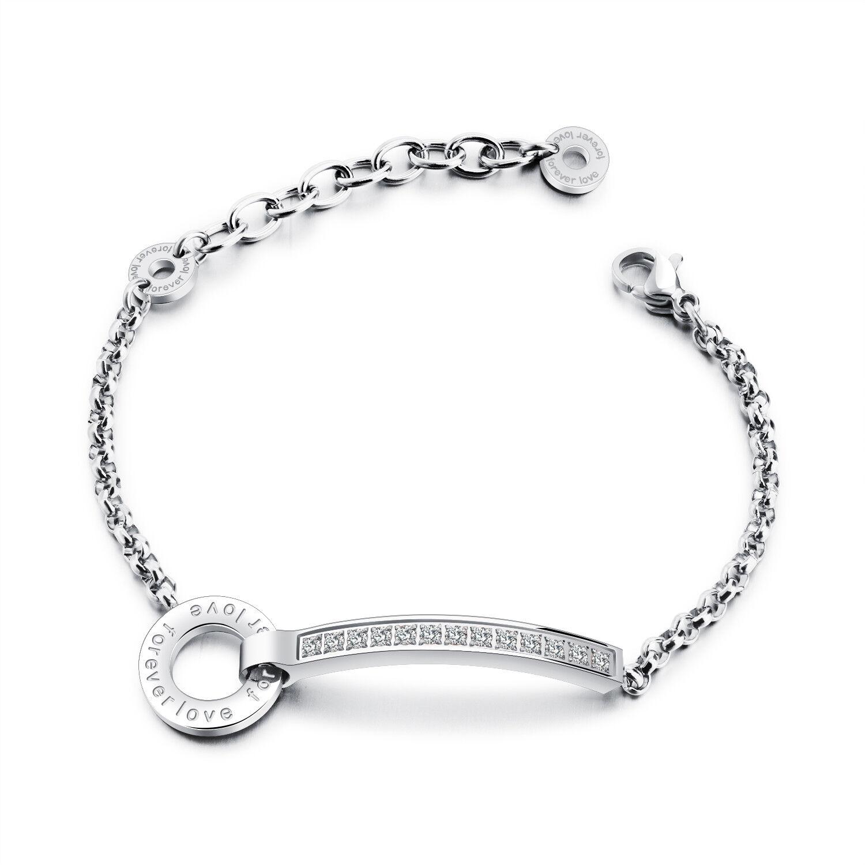 Edelstahl Damen Armband mit Cubic Zirkonia Steinen Armreif Silber Bracelet S879B