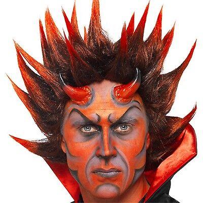 Mens Devil Punk Spiky Red Satan Vampire Halloween Fancy Dress Costume Wig