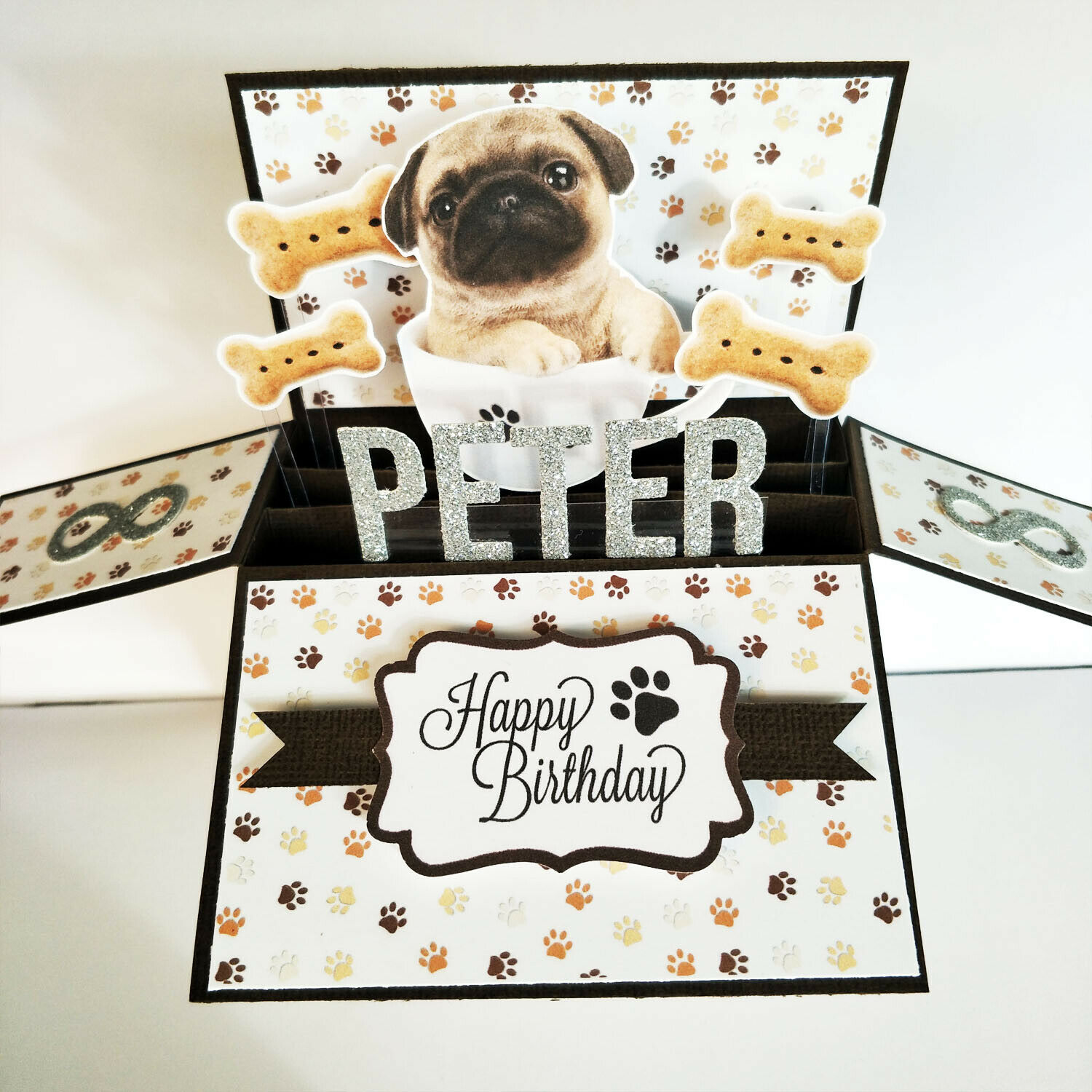 Handmade Name & Age Personalized birthday card, dog birthday card dog puppy card - Dog in a cup