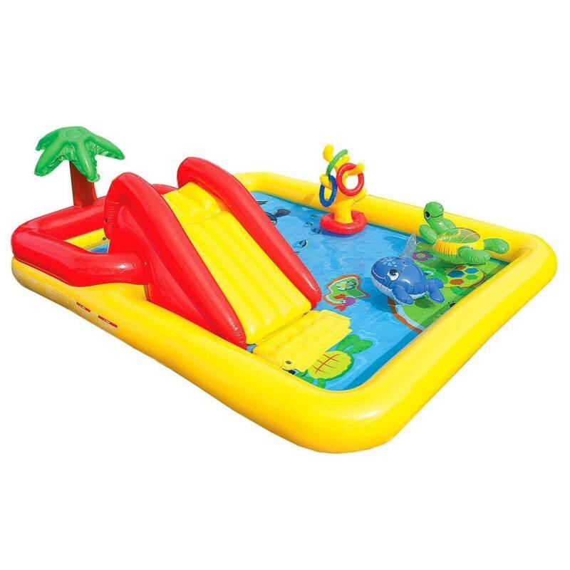 """Intex 100"""" x 77"""" Inflatable Ocean Play Center Kids Backyard Kiddie Pool & Games"""