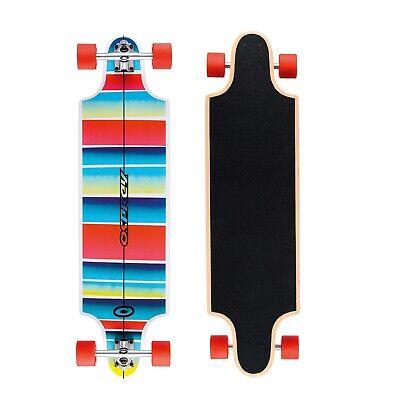 Osprey 38in Complete Skateboard Twin Tip Longboard/Cruiser - Stripe Blue & White