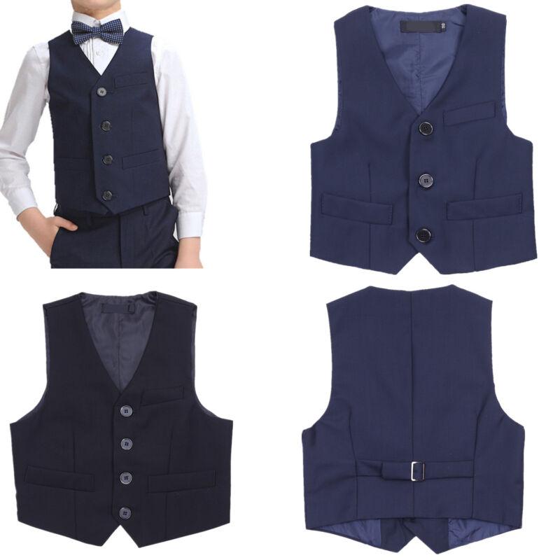 Kids Boys Formal Tuxedo Dress Vest Wedding Waistcoat Gentleman Suit Formal Party