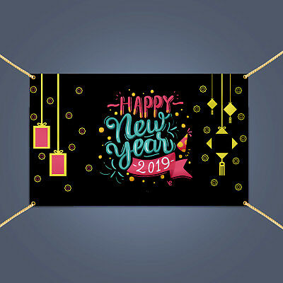 Happy New Year 2019 Banner, Outdoor New Year Eve Party Decoration Vinyl - Banner Happy New Year