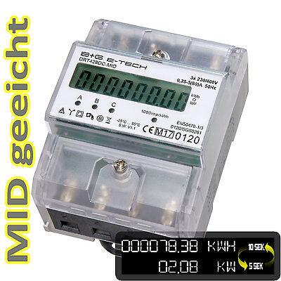 LCD Drehstromzähler Stromzähler MID geeicht S0 für Hutschiene 3x5(80)A