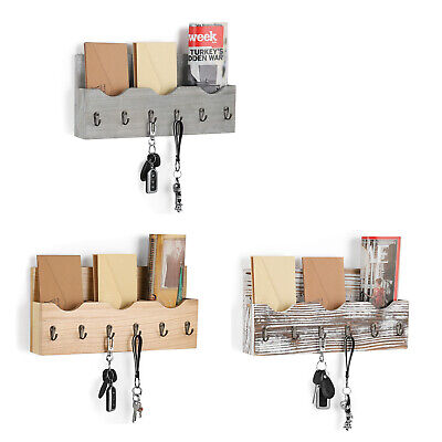 3-Slot Wall-Mounted Wood Rack Letter Shelf Holder 6 Key Hooks Newspaper Clothes Key Rack Shelf