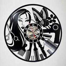 Barber Shop Hairdresser's Vinyl Record Wall Clock Hair Salon Modern Art Gift