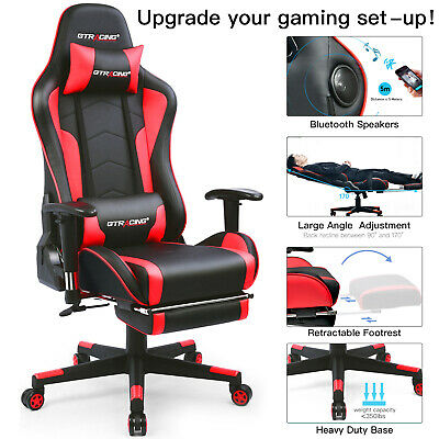 Gtracing Music Gaming Chair Racing Style Heavy Duty Chair With Speakerfootrest