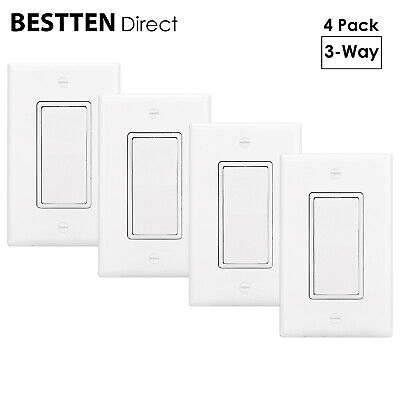 [4 Pack] BESTTEN 3-Way Decor Light Switch with Wall Plate 15A 120/277V UL Listed 3 Way Decorative Switch
