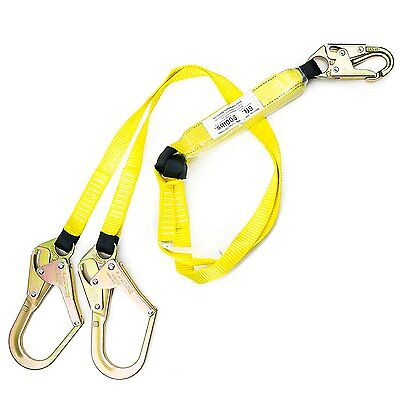 6 Ft Energy-absorbing Double Leg Lanyard W 1 Snap Hook 2 Rebar Hook-spld201