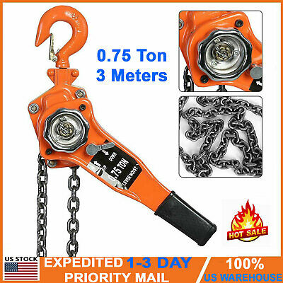 0.75 Ton 3m Come Along Ratcheting Lever Block Chain Hoist With Pulley Heavy Duty